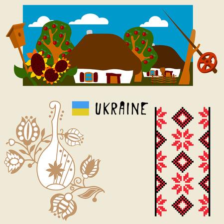 ukrainian: Ukrainian village.design element in vector