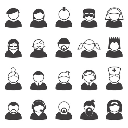 Set of users icons in vector Ilustracja