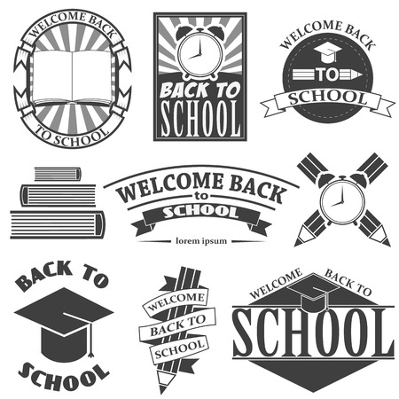 colored school: Back to School Design Collection. A Set of Dark Colored Vintage Style Back to School Designs on Light Background