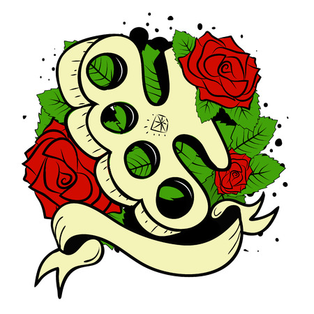 sword and heart: brass knuckles in roses.Old school tatoo style