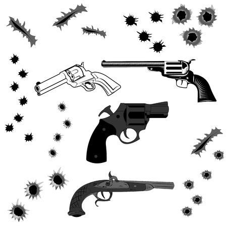 gunshot: Set of pistols and bullet holes in vector