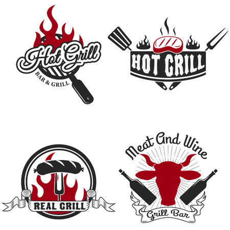 Collection of vintage retro BBQ badges and labels Vettoriali