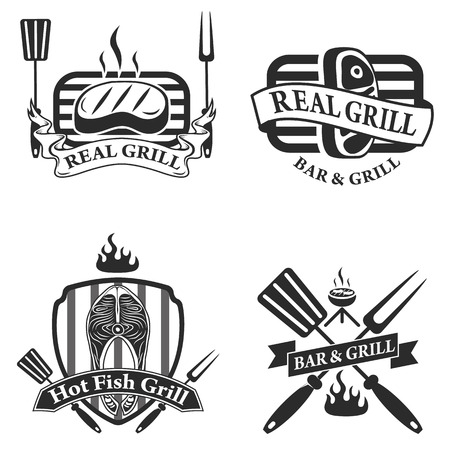 barbeque grill: Collection of vintage retro BBQ badges and labels Illustration