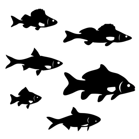 river: set of silhouettes of river fish