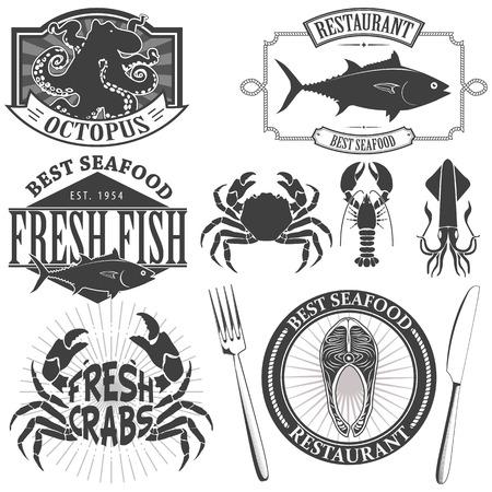 Etiquetas Sea Food Retro Vintage Ilustración de vector
