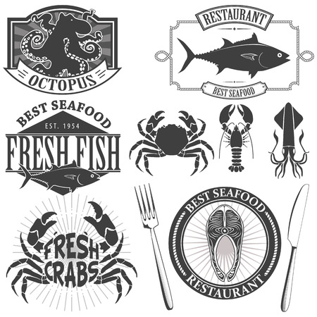 fresh seafood: Sea Food Retro Vintage Labels