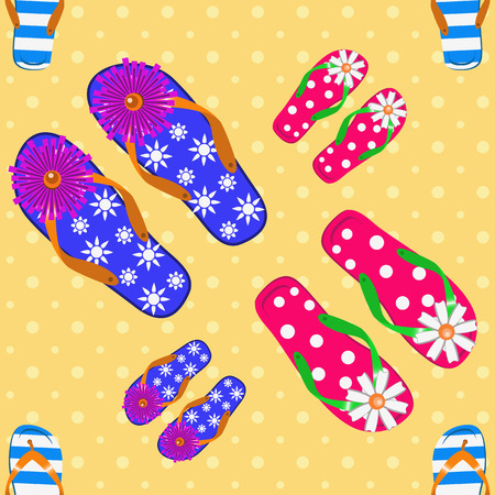 flip flops: Nautical flip flops  seamless pattern background Illustration