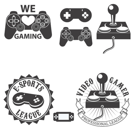 gamepads: set of electronic sports badges and labels in vintage style with gamepads