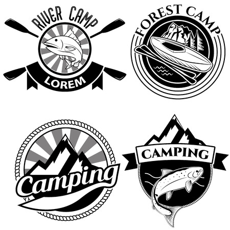 camping: Camping logo, labels and badges. Travel emblems