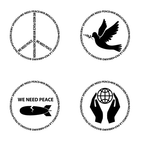 green peace: we need peace.Set of vector bages Illustration