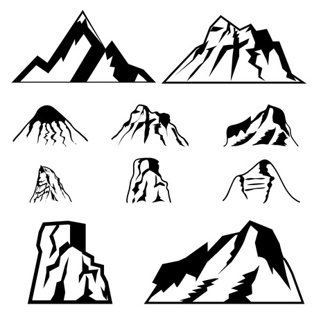 mountain silhouette: Set of the vector mountains.