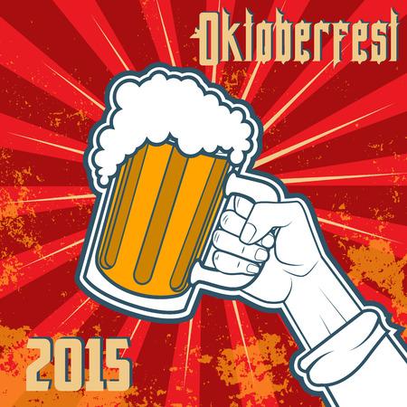 hand with a beer mug.Oktoberfest 2015 illustration.