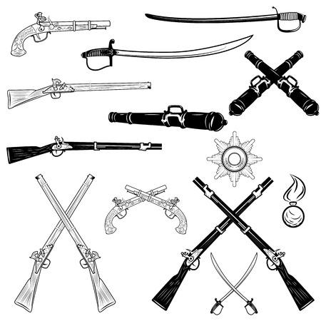 wojenne: zabytkowa broń palna i miecze, ilustracji wektorowych