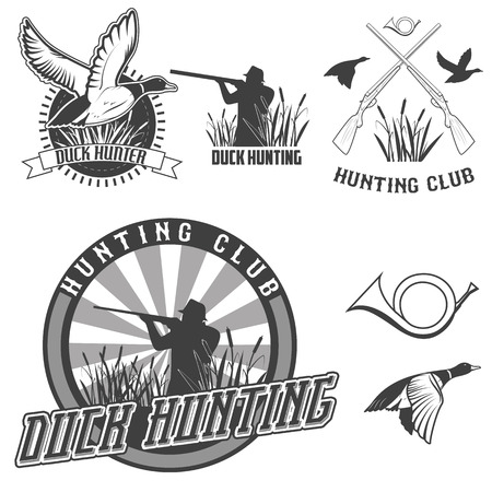 pato real: conjunto de vectores etiquetas con pato, inmersión, arma, cazador de emblemas de caza