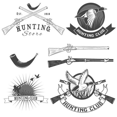 cazador: conjunto de vectores etiquetas con pato, inmersión, arma, cazador de emblemas de caza