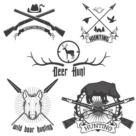 Wildschwein: Wildschweine hinzuzuf�gen Hirsche Jagd Etiketten und Embleme Illustration