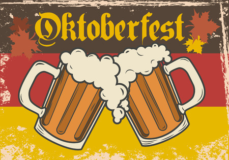 beer label design: Oktoberfest vector illustration. Two beer mugs on the background of the flag of Germany.