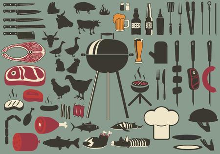 バーベキューのビンテージ セット。バーベキュー、グリルのコレクションのセットです。料理のグリル オブジェクト コレクション  イラスト・ベクター素材