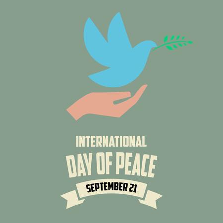 paloma de la paz: D�a Internacional de la ilustraci�n vectorial de la Paz. 21 de septiembre de la mano con la paloma en estilo retro