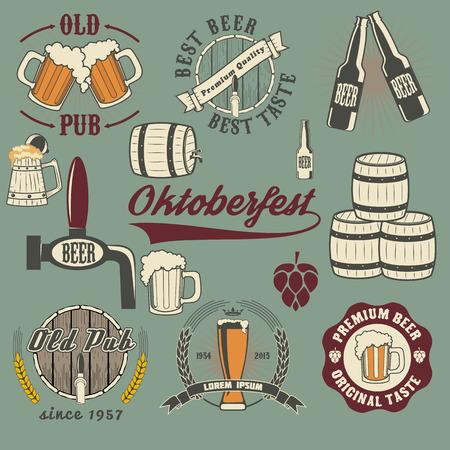 guinness: Oktoberfest beer icons set. Vintage beer labels. beer mugs and barrel on the grunge background