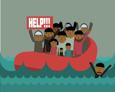 Syrische vluchtelingen op de boot. Syrische crisis. tragedie van vluchtelingen. Burgeroorlog in Syrië Stock Illustratie