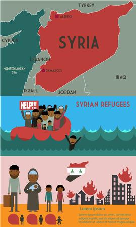 Réfugiés syriens sur le bateau. Crise syrienne. la tragédie des réfugiés. La guerre civile en Syrie infographie Vecteurs