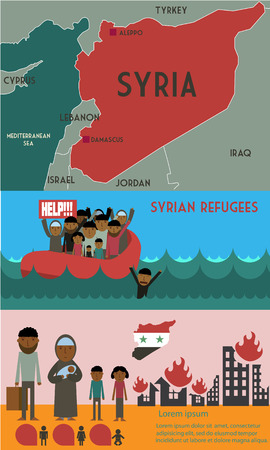 civil war: Syrian refugees on boat. Syrian crisis. tragedy of refugees. Civil war in Syria infographic