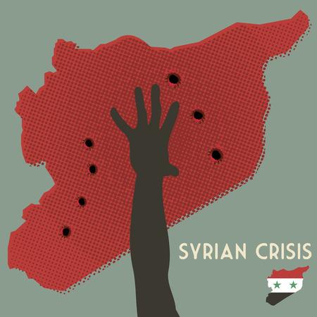 wojenne: kryzysu syryjskiego. Wojna domowa w Syrii. Mapa Syria z dziury po kulach