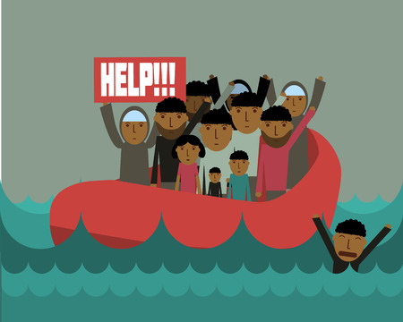 immigrant: Syrian refugees on boat.  Civil war in Syria Illustration