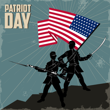 patriots: Two American soldier with the flag of the United States. Happy Patriot Day. Illustration