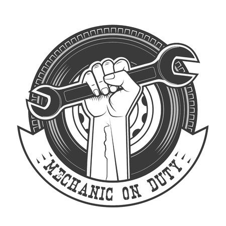 garage background: Mechanic on duty vector logo template.