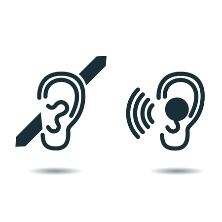 hearing: International Day of the Deaf. icon deaf. Icon the hearing aid Illustration