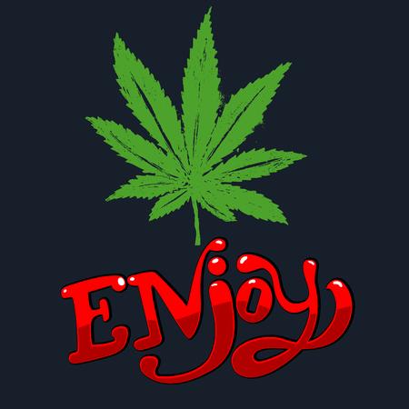 rastaman: Enjoy vector illustration. Cannabis leaf in hand draw style.