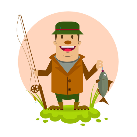fisher man: fisherman vector illustration in cartoon style. cute fisherman Illustration