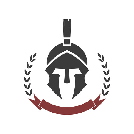 Spartan helmet. Vector logo template. Vectores