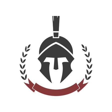 cascos romanos: casco espartano. Modelo de la insignia del vector.