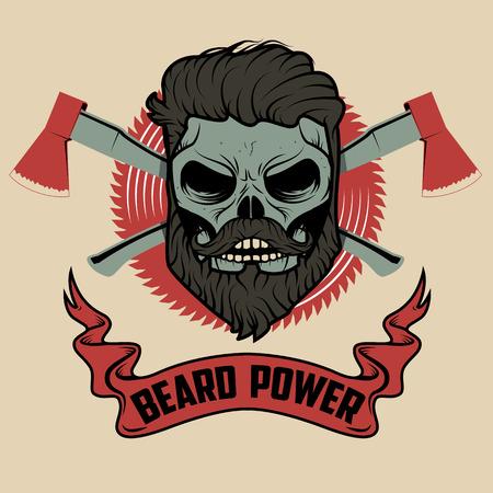 beard power. Skull with beard and two axes. Vector illustration. 일러스트