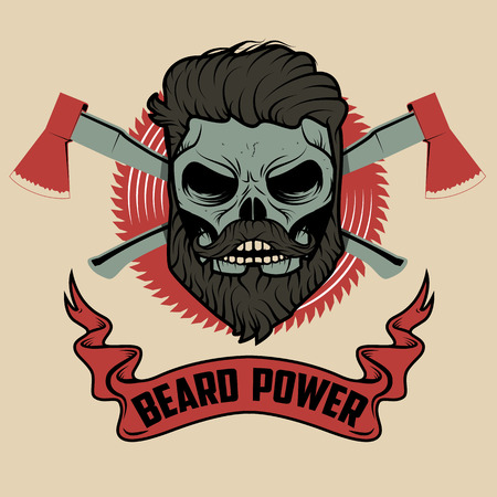 beard power. Skull with beard and two axes. Vector illustration. Vettoriali