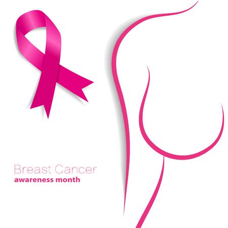 pechos: c�ncer de mama mes de la conciencia. Cinta rosada ilustraci�n vectorial Vectores