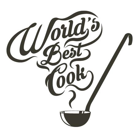 cuchara: cuchara con el mejor cocinero del mundo lema. Ilustración del vector.