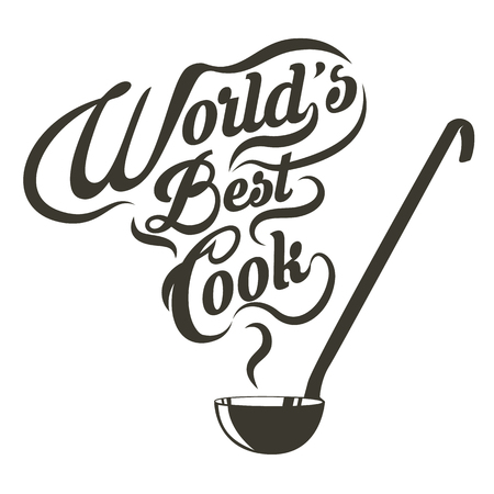 ladle with the slogan world best cook. Vector illustration. Vettoriali
