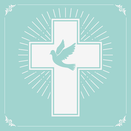 catholic church: dove and a cross on a light olive background. Religion. Vector illustration.