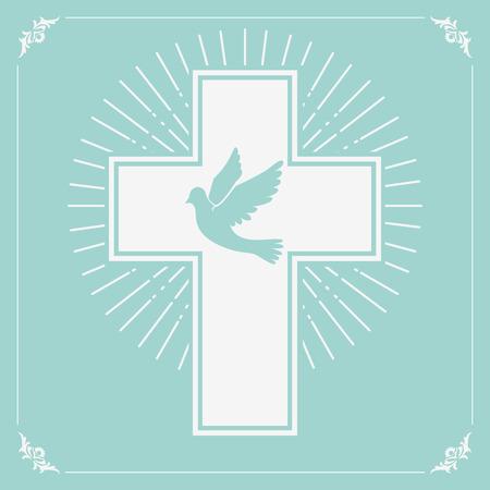 paloma: paloma y una cruz sobre un fondo verde oliva ligero. Religión. Ilustración del vector. Vectores