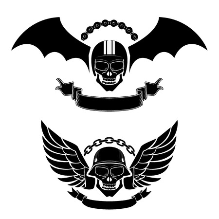 racing wings: biker labels. Street racing. Skulls with wings