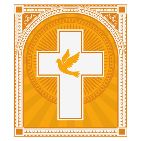 catholic church: dove and a cross on a light gold background. Religion. Vector illustration.