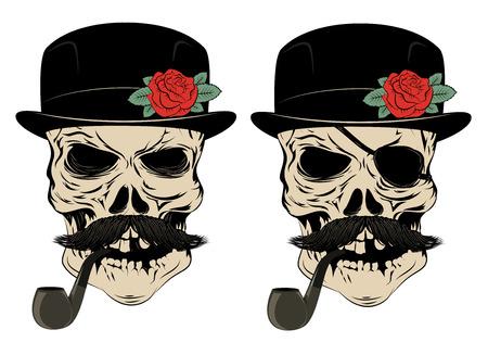 muerte: cr�neo que fuma con un bigote y un sombrero. D�a de la muerte. Ilustraci�n del vector. Vectores