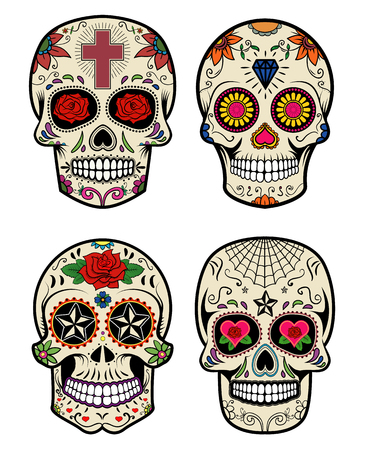 Set of the vector skulls. Day of the dead. Sugar skulls. Stock Illustratie