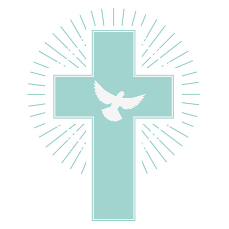 dove and a cross on a light olive background. the holy spirit. Religion. Vector illustration. Çizim