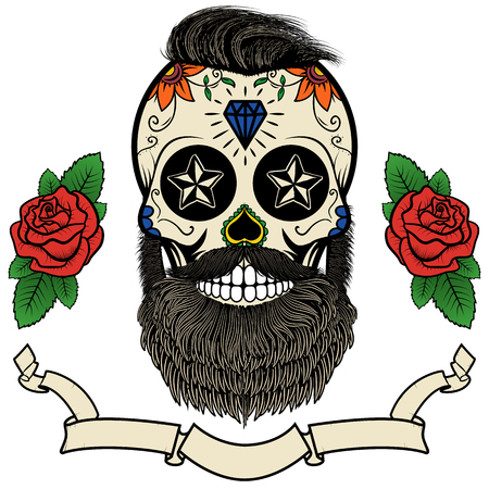 beard man: bearded skull. Sugar skull with beard. Day of death. Vector illustration
