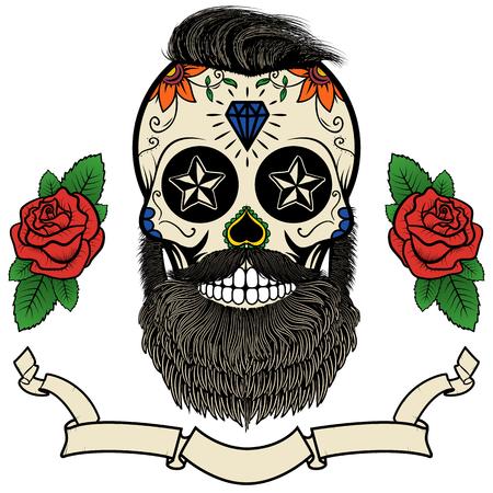 tete de mort: crâne barbu. Crâne de sucre avec une barbe. Journée de la mort. Vector illustration